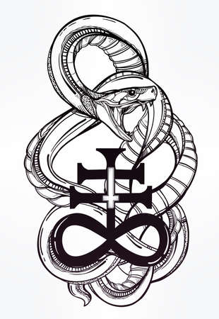 satanic: Hand-drawn vintage tattoo art. Vintage symbol, highly detailed hand drawn snake with Satanic cross, symbol of Satan in linear style. Engraved isolated vector art. Illustration