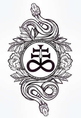 at symbol: Disegnati a mano arte del tatuaggio vintage. Vintage simbolo, serpenti mano molto dettagliato redatto con croce satanica, simbolo di Satana in stile lineare. Inciso isolato grafica vettoriale.