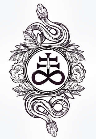 mythology: Hand-drawn vintage tattoo art. Vintage symbol, highly detailed hand drawn snakes with Satanic cross, symbol of Satan in linear style. Engraved isolated vector art. Illustration