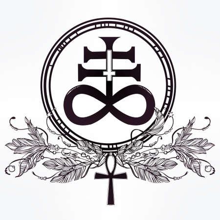 satan: Dibujado a mano del arte del tatuaje del vintage. Ilustración del vector, La Cruz Satánica también conocida como la cruz Leviatán, una variación del símbolo alquímico para el azufre Negro, plumas y ankh. Aislado.