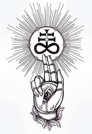 satan: Dibujado a mano mano mágica con la cruz satánica. Ilustración vectorial aislado. Arte del tatuaje Espiritual. Vectores