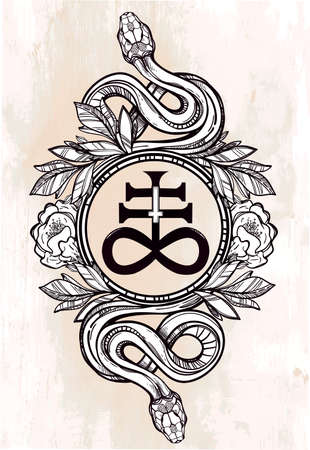 satanic: Hand-drawn vintage tattoo art. Vintage symbol, highly detailed hand drawn snakes with Satanic cross, symbol of Satan in linear style. Engraved isolated vector art. Illustration
