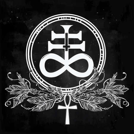 Hand-drawn vintage tattoo art. Vector illustration, The Satanic Cross also known as the Leviathan cross, a variation of the alchemical symbol for Black Sulfur, feathers and ankh. Isolated.