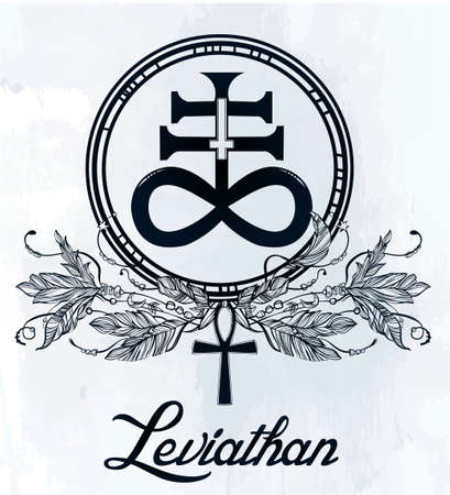 sulfur: Hand-drawn vintage tattoo art. Vector illustration, The Satanic Cross also known as the Leviathan cross, a variation of the alchemical symbol for Black Sulfur, feathers and ankh. Isolated.