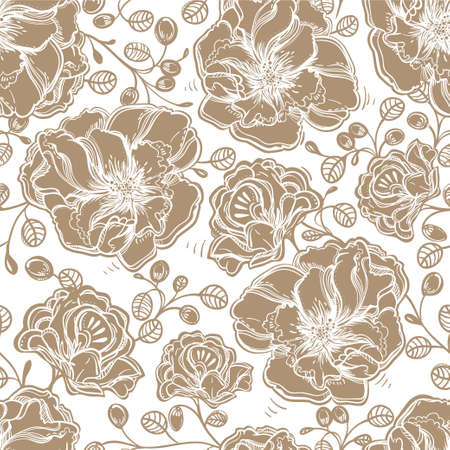 beige: Seamless elegant vintage floral pattern background of tender flowers leaf, summer berries. Isolated vector illustration. Fabrics, textiles, paper, wallpaper. Retro hand drawn ornament. Vintage style Illustration