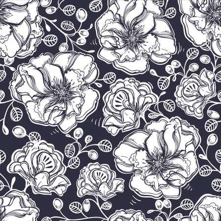azal�e: Seamless elegant vintage floral pattern background of tender flowers leaf, summer berries. Isolated vector illustration. Fabrics, textiles, paper, wallpaper. Retro hand drawn ornament. Vintage style Illustration