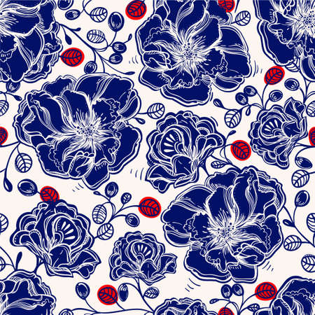 paper art: Seamless elegant vintage floral pattern background of tender flowers leaf, summer berries. Isolated vector illustration. Fabrics, textiles, paper, wallpaper. Retro hand drawn ornament. Vintage style Illustration