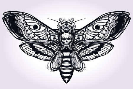 muerte: La cabeza de muertes halc�n mano polilla silueta dibujada. Dise�o arte del tatuaje. Elegante ilustraci�n vectorial aislado. Elemento de la vendimia de moda. Oscuro romance, la filosof�a, la espiritualidad, el ocultismo, la alquimia, la muerte, la magia.