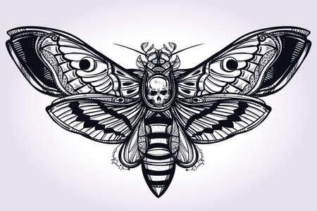 farfalla tatuaggio: Morti testa di falco silhouette disegnata a mano falena. Disegno arte del tatuaggio. Elegante Isolata illustrazione vettoriale. Trendy elemento Vintage. Scuro romanticismo, la filosofia, la spiritualità, l'occultismo, l'alchimia, la morte, la magia.