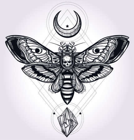 butterfly in hand: Deaths head hawk moth with moons and stones. Design tattoo art. Isolated vector illustration. Trendy Vintage style element. Dark romance, philosophy, spirituality, occultism, alchemy, death, magic.