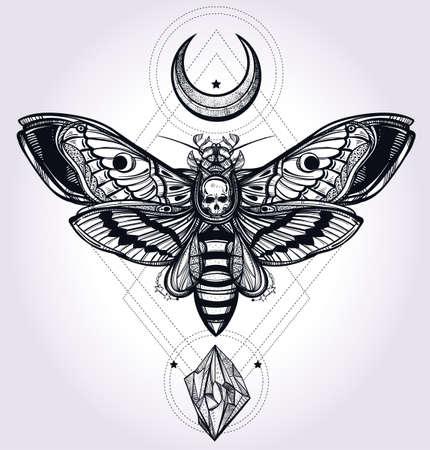 geometria: La cabeza de muertes polilla halcón con las lunas y las piedras. Diseño arte del tatuaje. Ilustración vectorial aislado. Elemento de estilo vintage de moda. Oscuro romance, la filosofía, la espiritualidad, el ocultismo, la alquimia, la muerte, la magia. Vectores