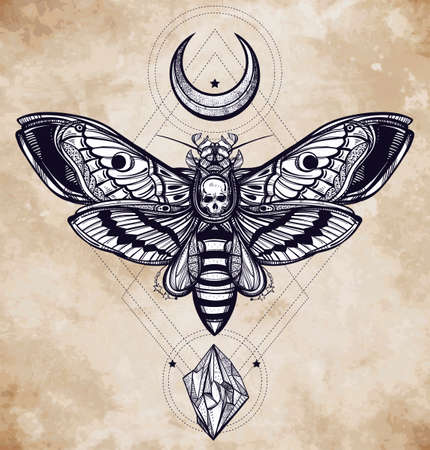 tattoo butterfly: Deaths head hawk moth with moons and stones. Design tattoo art. Isolated vector illustration. Trendy Vintage style element. Dark romance, philosophy, spirituality, occultism, alchemy, death, magic.