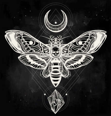 death symbol: Deaths head hawk moth with moons and stones. Design tattoo art. Isolated vector illustration. Trendy Vintage style element. Dark romance, philosophy, spirituality, occultism, alchemy, death, magic.