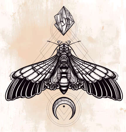 moons: Butterfly moth with moons and stones. Elegant design tattoo art. Isolated vector illustration. Trendy Vintage style element. Dark romance, love, spirituality, occultism, alchemy, magic, mysticism. Illustration