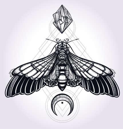 romance: Moth borboleta com luas e pedras. Arte tatuagem desenho elegante. Ilustração isolada do vetor. Elemento de estilo vintage na moda. Escuro romance, amor, espiritualidade, ocultismo, alquimia, magia, misticismo.