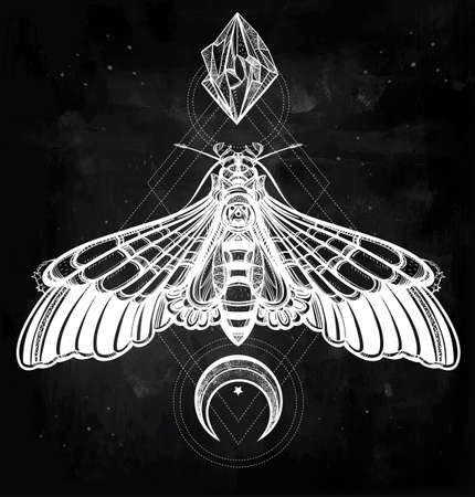 tatuaje mariposa: Polilla de la mariposa con las lunas y las piedras. Arte elegante dise�o del tatuaje. Ilustraci�n vectorial aislado. Elemento de estilo vintage de moda. Oscuro romance, amor, espiritualidad, el ocultismo, la alquimia, la magia, el misticismo. Vectores
