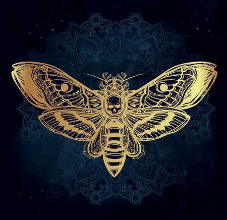 geometría: La cabeza de muertes polilla halcón con líneas mandala, geometría. Diseño arte del tatuaje. Ilustración vectorial aislado. Elemento de la vendimia de moda.