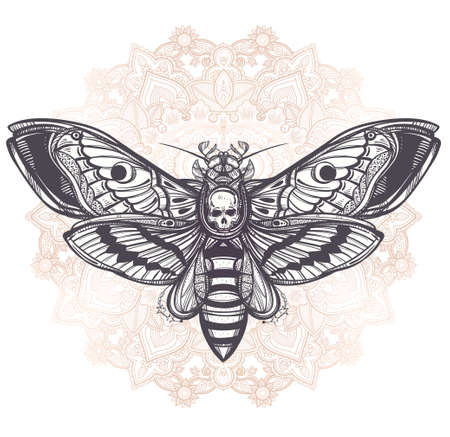 laces: Deaths head hawk moth with mandala, geometry lines. Design tattoo art. Isolated vector illustration. Trendy Vintage element.