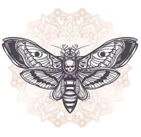 muerte: La cabeza de muertes polilla halcón con líneas mandala, geometría. Diseño arte del tatuaje. Ilustración vectorial aislado. Elemento de la vendimia de moda.