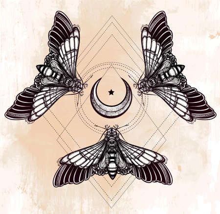 sacred: Butterflies moth with moons, sacred geometry circle. Elegant design tattoo art. Isolated vector illustration. Trendy Vintage style element. Dark romance, love, occultism, alchemy, magic, mysticism.