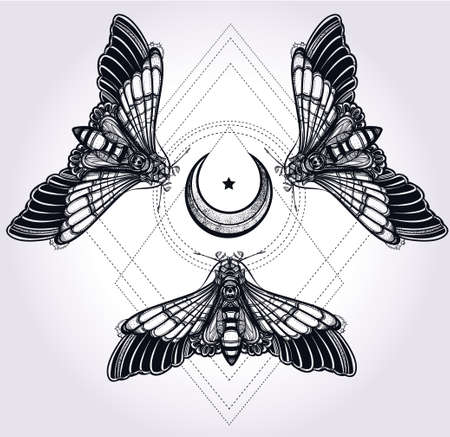 alquimia: Mariposas polilla con lunas, sagrado c�rculo geometr�a. Arte elegante dise�o del tatuaje. Ilustraci�n vectorial aislado. Elemento de estilo vintage de moda. Romanticismo oscuro, el amor, el ocultismo, la alquimia, la magia, el misticismo.