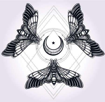 romaans: Vlinders mot met manen, heilige geometrie cirkel. Elegant design tattoo art. Geïsoleerde vector illustratie. Trendy Vintage stijl element. Donkere romantiek, liefde, occultisme, alchemie, magie, mystiek. Stock Illustratie