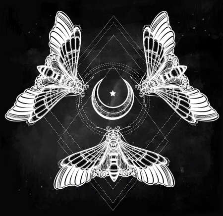 ocultismo: Butterflies moth with moons, sacred geometry circle. Elegant design tattoo art. Isolated vector illustration. Trendy Vintage style element. Dark romance, love, occultism, alchemy, magic, mysticism.