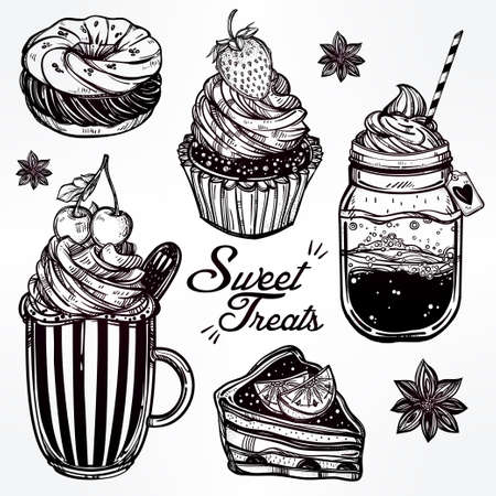 blend: Hand drawn highly detailed sweet dessert products set. Isolated vector illustration. Food elements. Excellent template for creating your menu design. Illustration