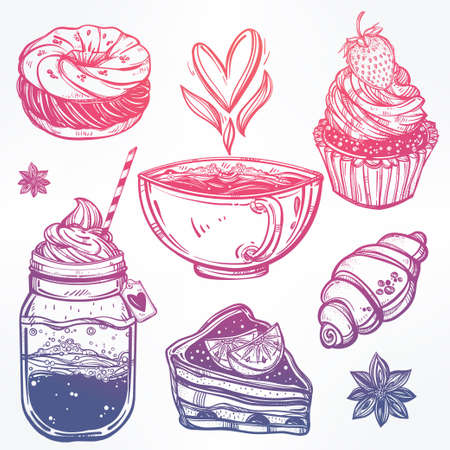retro illustration: Hand drawn highly detailed sweet dessert products set. Isolated vector illustration. Food elements. Excellent template for creating your menu design. Illustration