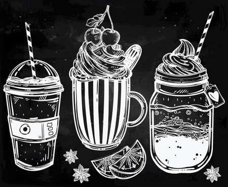 té helado: Dibujado a mano altamente detallados productos sabrosos bebidas establecidos. Ilustración vectorial aislado. Los elementos de comida. Excelente plantilla para crear el diseño de menú.