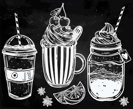 Hand drawn highly detailed tasty drinks products set. Isolated vector illustration. Food elements. Excellent template for creating your menu design.