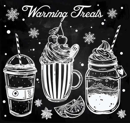 cold drinks: Hand drawn highly detailed tasty warming cold weather drinks products set. Isolated vector illustration. Food elements. Excellent template for creating your menu design.