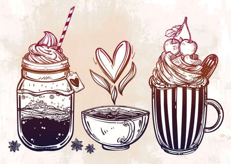 ice cream cup: Hand drawn highly detailed tasty drinks products set. Isolated vector illustration. Food elements. Excellent template for creating your menu design.