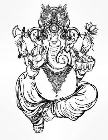mano de dios: Cabeza de elefante hindú Dios Ganesha, mecenas de las artes, las ciencias. Vector elementos decorativos de la vendimia aislado. Dibujado a mano de fondo de Paisley. , Motivos hindúes de la India. Tatuaje, yoga, espiritualidad, textiles.