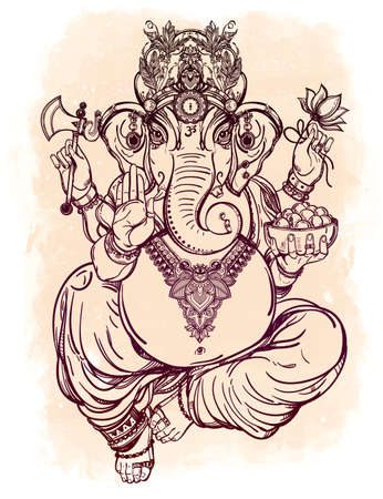 patron: Hindu elephant head God Lord Ganesha, patron of arts,  sciences. Vintage decorative vector elements isolated. Hand drawn paisley background. Indian, Hindu motifs. Tattoo, yoga, spirituality, textiles. Illustration