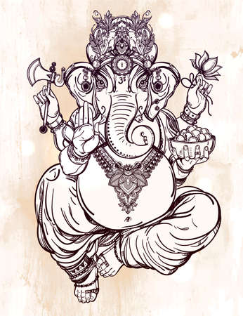 elephant: Hindu elephant head God Lord Ganesha, patron of arts,  sciences. Vintage decorative vector elements isolated. Hand drawn paisley background. Indian, Hindu motifs. Tattoo, yoga, spirituality, textiles. Illustration