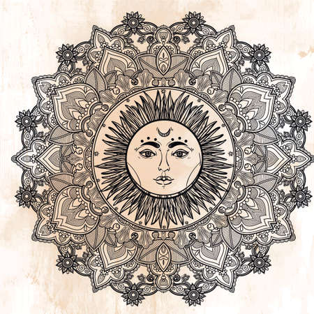 tantra: Sun Mandala. Round Ornament Pattern. Vintage decorative vector elements isolated. Hand drawn background.