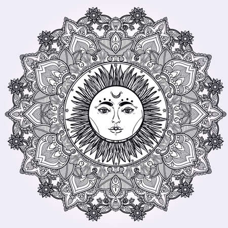 spiritual: Sun Mandala. Round Ornament Pattern. Vintage decorative vector elements isolated. Hand drawn background.