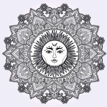 sonne: Sun-Mandala. Rund-Ornament-Muster. Weinlese-dekorative Vektor-Elemente isoliert. Hand gezeichnet Hintergrund.