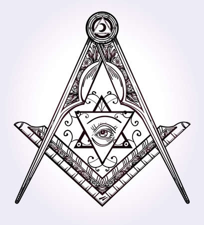 simbolo: Emblema Massoneria, massonica bussola piazza Dio simbolo. Elemento alchemico Trendy. Disegno arte del tatuaggio. Illustrazione vettoriale isolato.