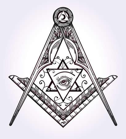 alchemist: Freemasonry emblem, masonic square compass God symbol. Trendy alchemy element. Design tattoo art. Isolated vector illustration.
