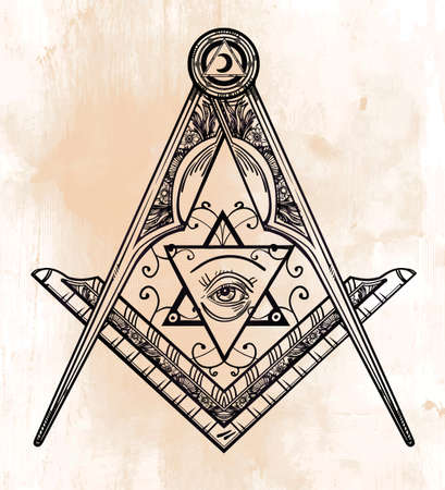 freemasonry: Freemasonry emblem, masonic square compass God symbol. Trendy alchemy element. Design tattoo art. Isolated vector illustration.