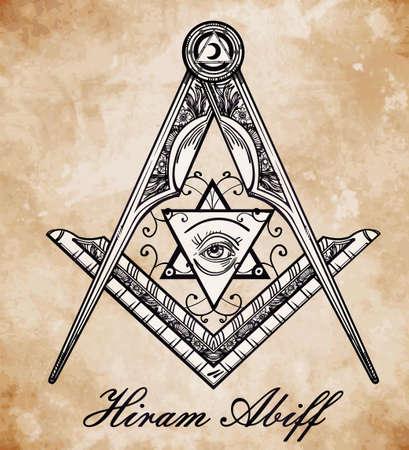 freemasonry: Freemasonry emblem, masonic square compass God symbol. Trendy alchemy element. Design tattoo art. Isolated vector illustration.