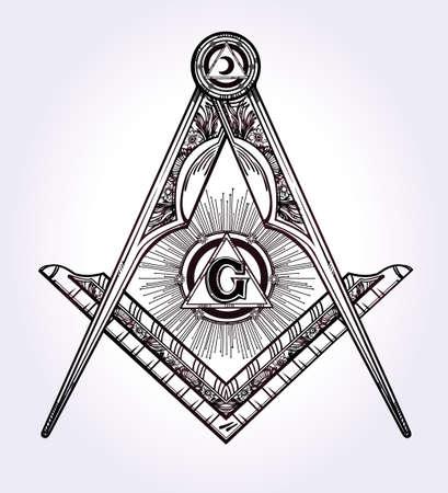 Emblema de la masonería, masónico cuadrados brújula Dios símbolo. Elemento de la alquimia de moda. Diseño arte del tatuaje. Ilustración vectorial aislado.