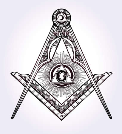 religion: Freemasonry emblem, masonic square compass God symbol. Trendy alchemy element. Design tattoo art. Isolated vector illustration.