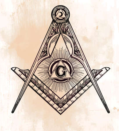 Freemasonry emblem, masonic square compass God symbol. Trendy alchemy element. Design tattoo art. Isolated vector illustration.