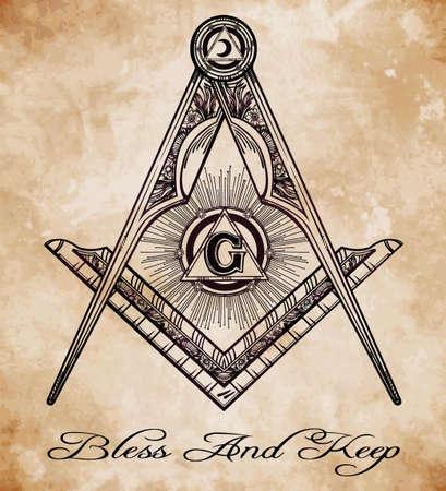 hermetic: Freemasonry emblem, masonic square compass God symbol. Trendy alchemy element. Design tattoo art. Isolated vector illustration.