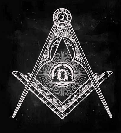 brujula: Emblema de la masonería, masónico cuadrados brújula Dios símbolo. Elemento de la alquimia de moda. Diseño arte del tatuaje. Ilustración vectorial aislado.