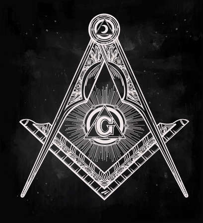 Freemasonry emblem, masonic square compass God symbol. Trendy alchemy element. Design tattoo art. Isolated vector illustration.