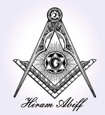 simbolos religiosos: Emblema de la masonería, masónico cuadrados brújula Dios símbolo. Elemento de la alquimia de moda. Diseño arte del tatuaje. Ilustración vectorial aislado.